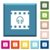 Movie audio white icons on edged square buttons - Movie audio white icons on edged square buttons in various trendy colors