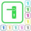 Left handed door handle with screws vivid colored flat icons - Left handed door handle with screws vivid colored flat icons in curved borders on white background