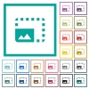 Enlarge photo flat color icons with quadrant frames - Enlarge photo flat color icons with quadrant frames on white background