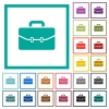 Satchel with two buckles flat color icons with quadrant frames - Satchel with two buckles flat color icons with quadrant frames on white background