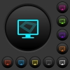 Screen saver on monitor dark push buttons with color icons - Screen saver on monitor dark push buttons with vivid color icons on dark grey background