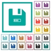 File progressing flat color icons with quadrant frames - File progressing flat color icons with quadrant frames on white background