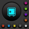 Single strong box dark push buttons with color icons - Single strong box dark push buttons with vivid color icons on dark grey background