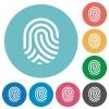 Fingerprint flat round icons - Fingerprint flat white icons on round color backgrounds