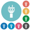 Air control tower flat round icons - Air control tower flat white icons on round color backgrounds