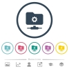 FTP settings flat color icons in round outlines - FTP settings flat color icons in round outlines. 6 bonus icons included.