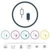 Two candlesticks flat color icons in round outlines - Two candlesticks flat color icons in round outlines. 6 bonus icons included.
