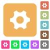 Single cogwheel flat icons on rounded square vivid color backgrounds. - Single cogwheel rounded square flat icons