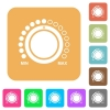 Volume control with captions flat icons on rounded square vivid color backgrounds. - Volume control with captions rounded square flat icons