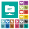 FTP Processing square flat multi colored icons - FTP Processing multi colored flat icons on plain square backgrounds. Included white and darker icon variations for hover or active effects.