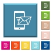 Sending email from mobile phone white icons on edged square buttons - Sending email from mobile phone white icons on edged square buttons in various trendy colors