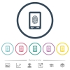 Mobile fingerprint identification flat color icons in round outlines - Mobile fingerprint identification flat color icons in round outlines. 6 bonus icons included.