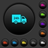 24 hour delivery truck dark push buttons with color icons - 24 hour delivery truck dark push buttons with vivid color icons on dark grey background