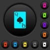 Queen of spades card dark push buttons with color icons - Queen of spades card dark push buttons with vivid color icons on dark grey background
