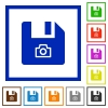 File snapshot flat framed icons - File snapshot flat color icons in square frames on white background