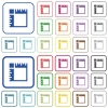 Canvas rulers outlined flat color icons - Canvas rulers color flat icons in rounded square frames. Thin and thick versions included.