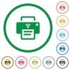 Wireless printer flat icons with outlines - Wireless printer flat color icons in round outlines on white background