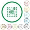 Digital fingerprint flat icons with outlines - Digital fingerprint flat color icons in round outlines on white background