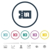 Travel discount coupon flat color icons in round outlines - Travel discount coupon flat color icons in round outlines. 6 bonus icons included.