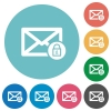 Lock mail flat round icons - Lock mail flat white icons on round color backgrounds