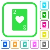 Two of hearts card vivid colored flat icons - Two of hearts card vivid colored flat icons in curved borders on white background
