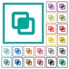 Intersect shapes flat color icons with quadrant frames on white background - Intersect shapes flat color icons with quadrant frames