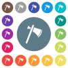 Single tomahawk flat white icons on round color backgrounds - Single tomahawk flat white icons on round color backgrounds. 17 background color variations are included.