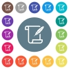 Paper scroll with feather flat white icons on round color backgrounds - Paper scroll with feather flat white icons on round color backgrounds. 17 background color variations are included.