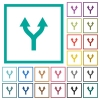 Split arrows up flat color icons with quadrant frames - Split arrows up flat color icons with quadrant frames on white background