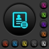 Contact options dark push buttons with color icons - Contact options dark push buttons with vivid color icons on dark grey background