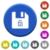 Unlock file beveled buttons - Unlock file round color beveled buttons with smooth surfaces and flat white icons
