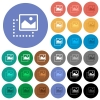 Drag image to top right round flat multi colored icons - Drag image to top right multi colored flat icons on round backgrounds. Included white, light and dark icon variations for hover and active status effects, and bonus shades.