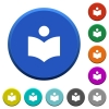 Library beveled buttons - Library round color beveled buttons with smooth surfaces and flat white icons