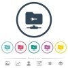 FTP secure flat color icons in round outlines - FTP secure flat color icons in round outlines. 6 bonus icons included.