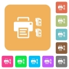 Printer and ink cartridges rounded square flat icons - Printer and ink cartridges flat icons on rounded square vivid color backgrounds.