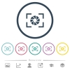 Camera aperture setting flat color icons in round outlines - Camera aperture setting flat color icons in round outlines. 6 bonus icons included.