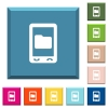 Mobile data storage white icons on edged square buttons - Mobile data storage white icons on edged square buttons in various trendy colors
