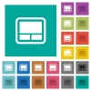 Laptop touchpad square flat multi colored icons - Laptop touchpad multi colored flat icons on plain square backgrounds. Included white and darker icon variations for hover or active effects.