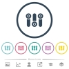 Control panel flat color icons in round outlines. 6 bonus icons included. - Control panel flat color icons in round outlines