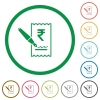 Signing Rupee cheque flat icons with outlines - Signing Rupee cheque flat color icons in round outlines on white background