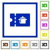 kitchen equipment discount coupon flat framed icons - kitchen equipment discount coupon flat color icons in square frames on white background