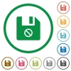 Disabled file flat icons with outlines - Disabled file flat color icons in round outlines on white background