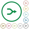 Merge arrows flat icons with outlines - Merge arrows flat color icons in round outlines on white background