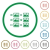 Multiple image selection with checkboxes flat icons with outlines - Multiple image selection with checkboxes flat color icons in round outlines on white background