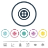 Dress button with 4 holes flat color icons in round outlines - Dress button with 4 holes flat color icons in round outlines. 6 bonus icons included.