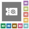 Movie discount coupon square flat icons - Movie discount coupon flat icons on simple color square backgrounds