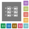 Single image selection with radio buttons square flat icons - Single image selection with radio buttons flat icons on simple color square backgrounds