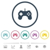 Game controller flat color icons in round outlines - Game controller flat color icons in round outlines. 6 bonus icons included.