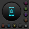 Mobile banking dark push buttons with color icons - Mobile banking dark push buttons with vivid color icons on dark grey background