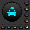 Electric car with connector dark push buttons with vivid color icons on dark grey background - Electric car with connector dark push buttons with color icons